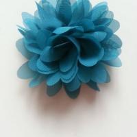 Applique fleur mousseline   75mm bleu /vert
