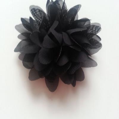 Applique fleur mousseline   75mm noir