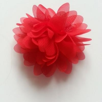 Applique fleur mousseline   75mm rouge