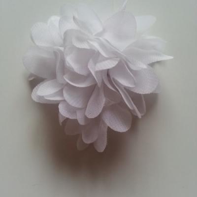 Applique fleur mousseline   75mm blanc