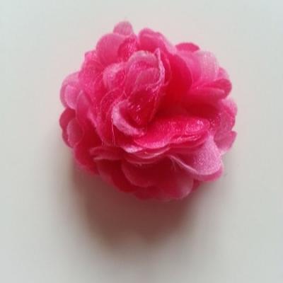 rosette fleur pompom   50mm rose fuchsia
