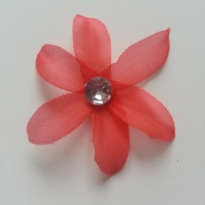 Fleur en tissu avec strass 65 mm rouge
