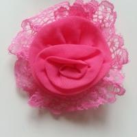 Applique dentelle et mousseline 75mm rose fuchsia