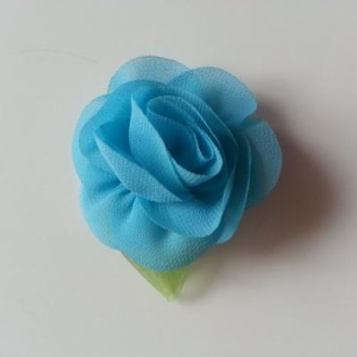 Fleur en mousseline avec feuille  50mm bleu