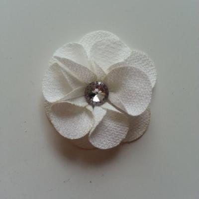 Applique fleur tissu  50mm ivoire