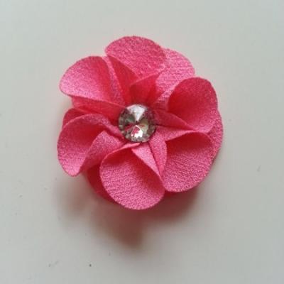 Applique fleur tissu  50mm rose