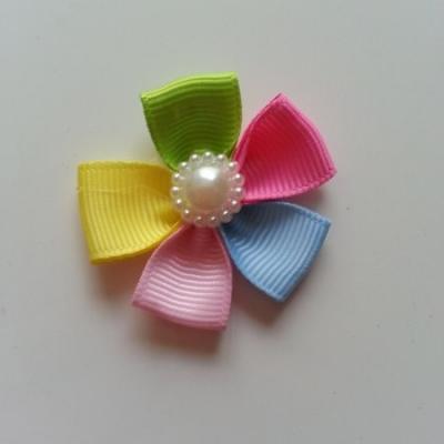 Fleur multicolore en ruban  40mm