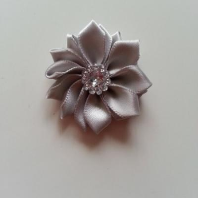 Applique fleur satin strass  35mm grise