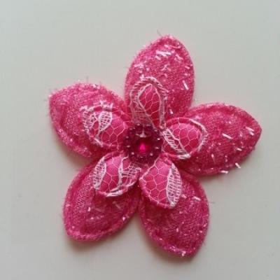 Applique fleur  pailletée  60mm rose fuchsia