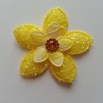 Applique fleur  pailletée  60mm jaune