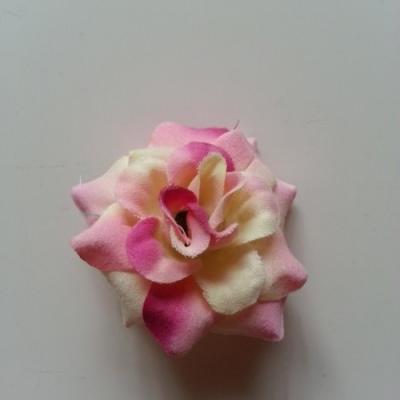Fleur  en tissu  50mm rose et ivoire