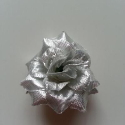 Fleur  en tissu  50mm argent