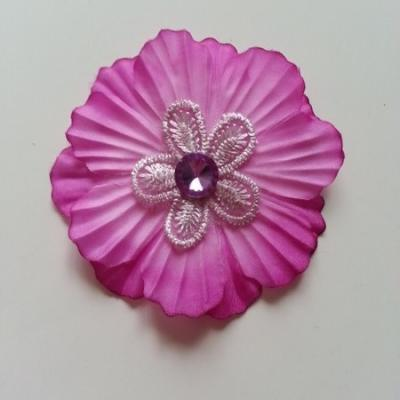 Fleur en tissu dans un dégradé de mauve et fleur en dentelle et strass 60mm