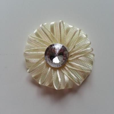 Applique fleur ruban avec strass   50mm ivoire
