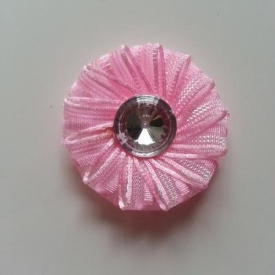Applique fleur ruban avec strass   50mm rose