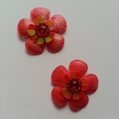 Lot de 2 appliques fleurs avec strass  35mm rouge