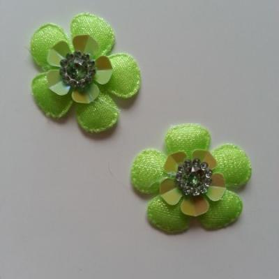Lot de 2 appliques fleurs avec strass  35mm vert