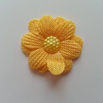 Applique fleur toile 45mm jaune