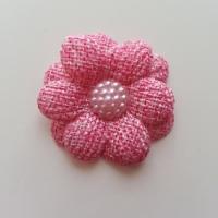 Applique fleur toile 45mm rose