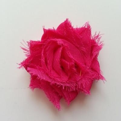 Applique fleur chabby   50mm rose fuchsia
