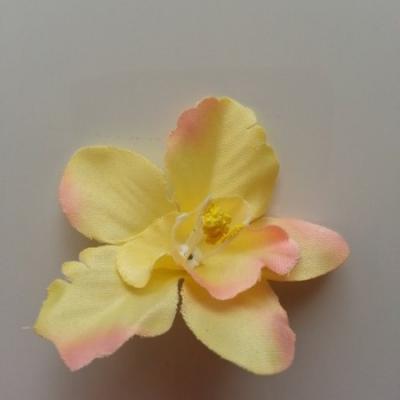 Orchidée  en tissu   70mm jaune et pêche