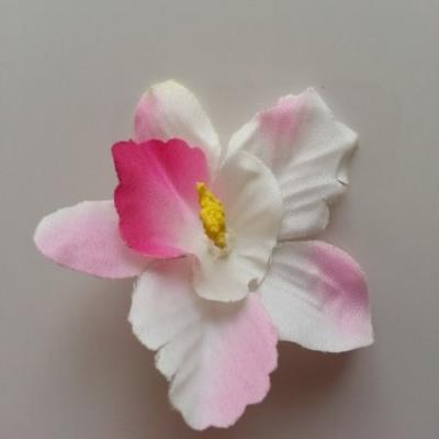 Orchidée  en tissu   70mm rose et ivoire