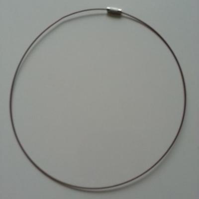 Collier en fil câblé  46cm marron foncé