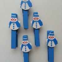 pince à linge bonhomme de neige blanc et bleu en lot de 5
