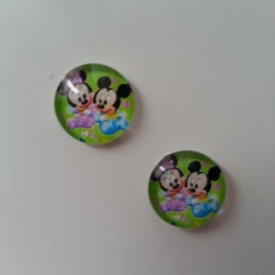 lot de 2 cabochons en verre avec impression minnie et mickey baby 14mm