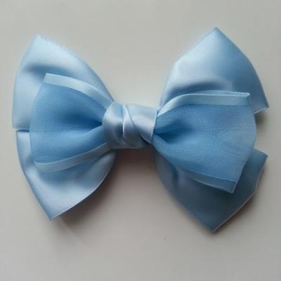 Gros noeud en satin et organza 100*65mm bleu ciel
