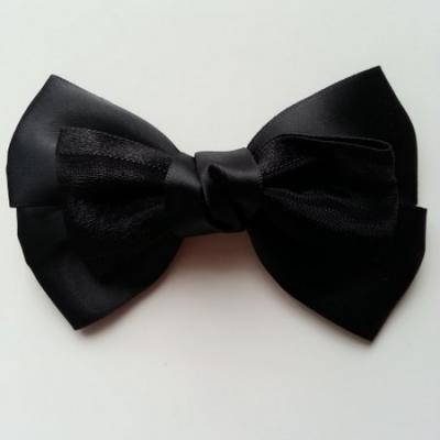 Gros noeud en satin et organza 100*65mm noir