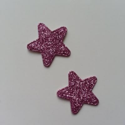 Lot de 2 étoiles paillettes rose en tissu 20mm