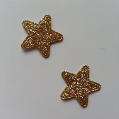 Lot de 2 étoiles paillettes dorées en tissu 20mm