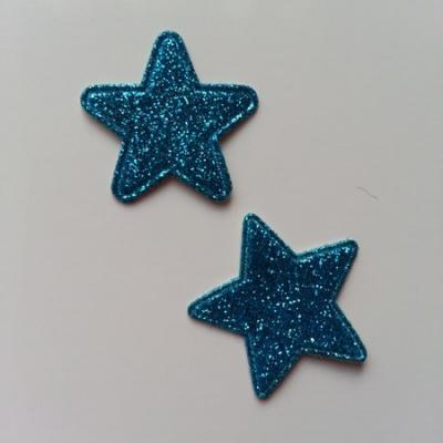 Lot de 2 étoiles paillettes bleu turquoise en tissu 20mm