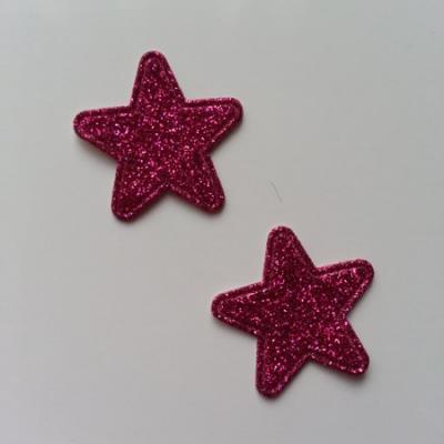Lot de 2 étoiles paillettes rose fuchsia  en tissu 20mm