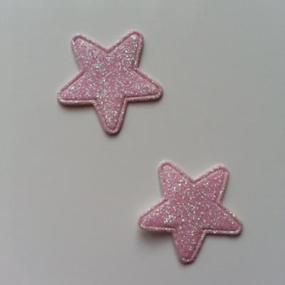 Lot de 2 étoiles paillettes rose pâle  en tissu 20mm