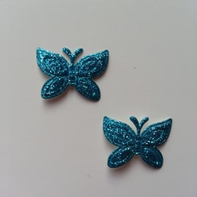 Lot de 2 papillons  paillettes bleu turquoise  en tissu 23*18mm