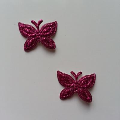Lot de 2 papillons  paillettes rose fuchsia en tissu 23*18mm