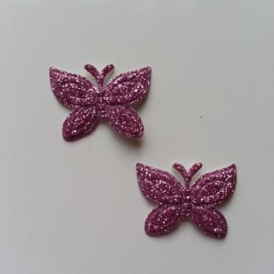 Lot de 2 papillons  paillettes rose   en tissu 23*18mm