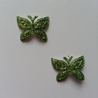 Lot de 2 papillons  paillettes vert en tissu 23*18mm