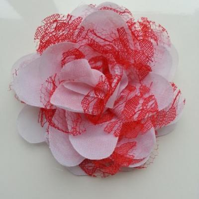 Grande fleur en mousseline  et dentelle 11cm blanc et rouge