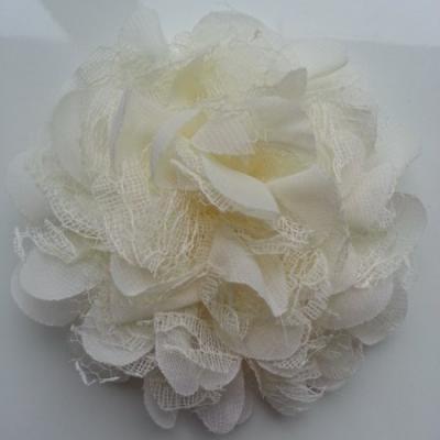 Grande fleur en mousseline  et dentelle 11cm  ivoire