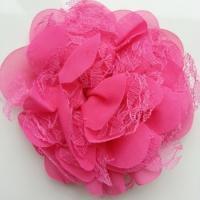 Grande fleur en mousseline  et dentelle 11cm rose fuchsia