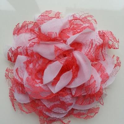 Grande fleur en mousseline  et dentelle 11cm rose saumon