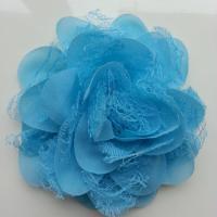 Grande fleur en mousseline  et dentelle 11cm bleu