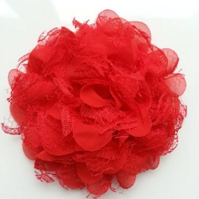Grande fleur en mousseline  et dentelle 11cm rouge