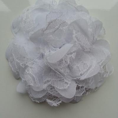 Grande fleur en mousseline  et dentelle 11cm blanc