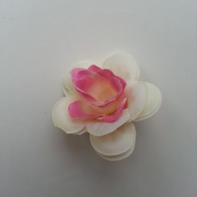 Fleur  artificielle en tissu  40mm ivoire et rose