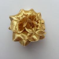 Fleur  en tissu  50mm doré