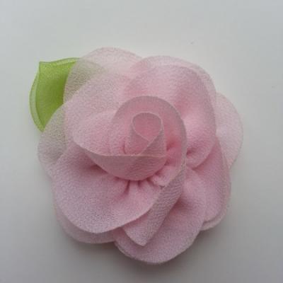 Fleur en mousseline avec feuille  50mm rose